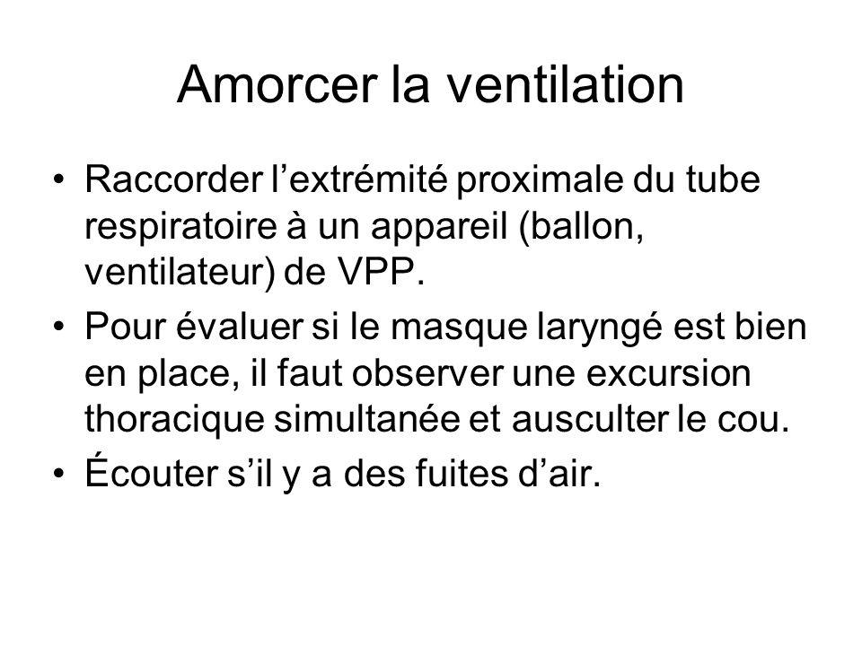 Amorcer la ventilation Raccorder l'extrémité proximale du tube respiratoire à un appareil (ballon, ventilateur) de VPP. Pour évaluer si le masque lary