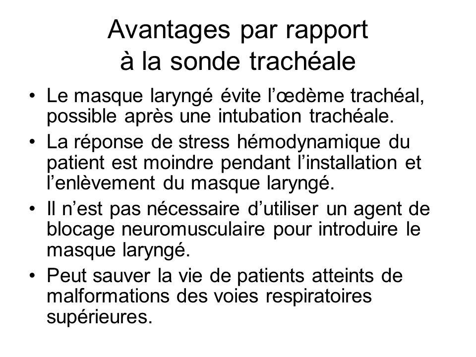 Avantages par rapport à la sonde trachéale Le masque laryngé évite l'œdème trachéal, possible après une intubation trachéale. La réponse de stress hém