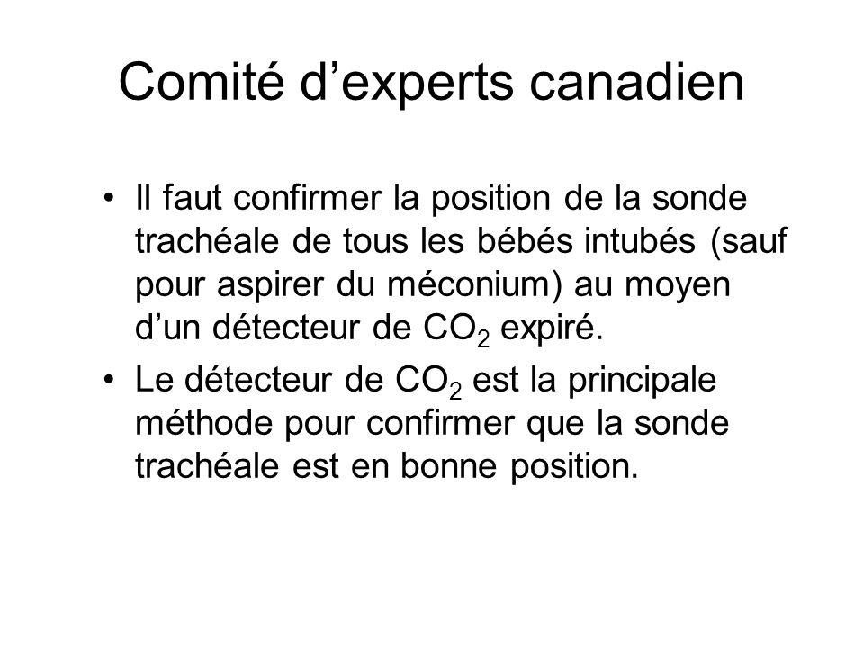 Comité d'experts canadien Il faut confirmer la position de la sonde trachéale de tous les bébés intubés (sauf pour aspirer du méconium) au moyen d'un