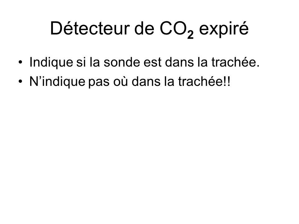Détecteur de CO 2 expiré Indique si la sonde est dans la trachée. N'indique pas où dans la trachée!!