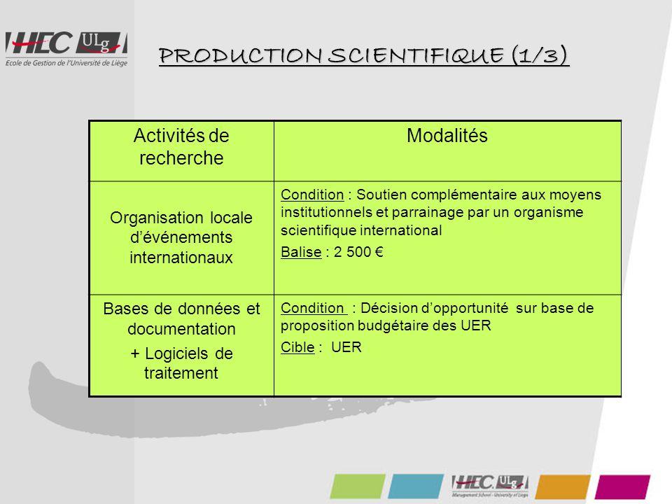 PRODUCTION SCIENTIFIQUE (1/3) Activités de recherche Modalités Organisation locale d'événements internationaux Condition : Soutien complémentaire aux moyens institutionnels et parrainage par un organisme scientifique international Balise : 2 500 € Bases de données et documentation + Logiciels de traitement Condition : Décision d'opportunité sur base de proposition budgétaire des UER Cible : UER
