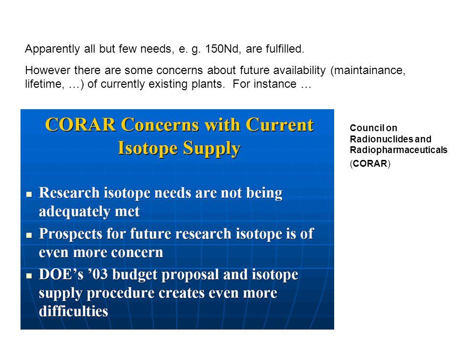 Application et marché potentiel au-delà des expériences double bêta 1- Médecine (diagnostics et thérapie) : Isotopes stables précurseurs d'isotopes radioactifs : 112Cd, 50Cr, 102Pd, 58Fe, 203Th,… 2- Industrie nucléaire (besoins futurs de grandes quantités) : 157Gd, 64Zn, 90Zr, 58Ni, 54Fe, 97Mo,… 3- Recherche :43Ca, 168Yb, 44Ca, 48Ca, 58Ni, 50Cr,76Ge, 82Se, 150Nd, 100Mo,… This could be a typical European Project.
