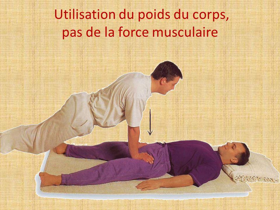 Utilisation du poids du corps, pas de la force musculaire