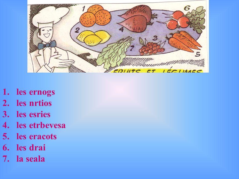 les oranges les citrons les cerises les betteraves les carottes les radis la salade