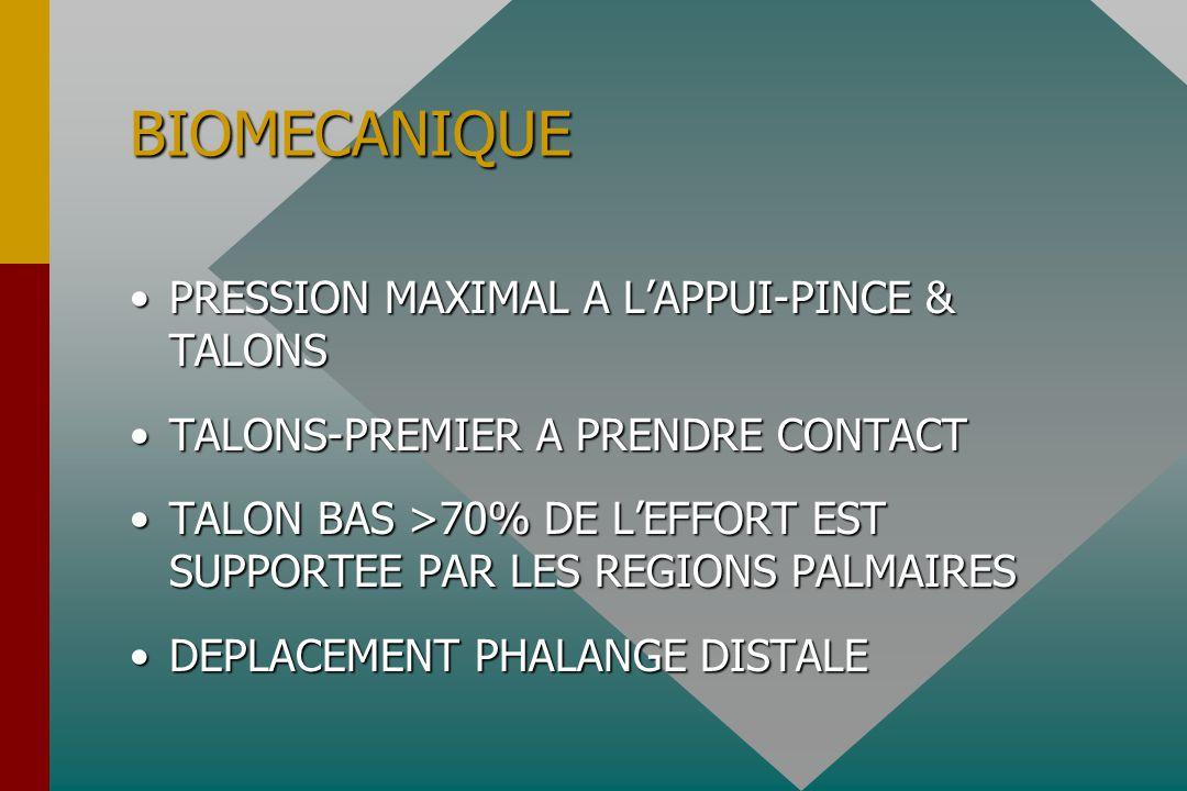 BIOMECANIQUE PRESSION MAXIMAL A L'APPUI-PINCE & TALONSPRESSION MAXIMAL A L'APPUI-PINCE & TALONS TALONS-PREMIER A PRENDRE CONTACTTALONS-PREMIER A PRENDRE CONTACT TALON BAS >70% DE L'EFFORT EST SUPPORTEE PAR LES REGIONS PALMAIRESTALON BAS >70% DE L'EFFORT EST SUPPORTEE PAR LES REGIONS PALMAIRES DEPLACEMENT PHALANGE DISTALEDEPLACEMENT PHALANGE DISTALE