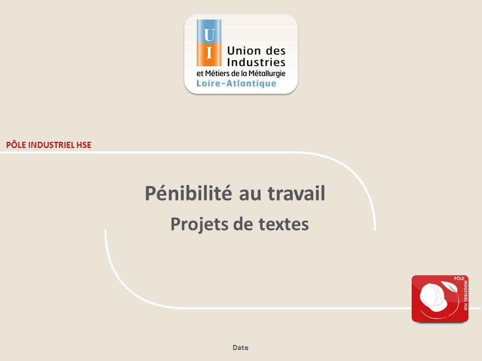 Date PÔLE INDUSTRIEL HSE Pénibilité au travail Projets de textes
