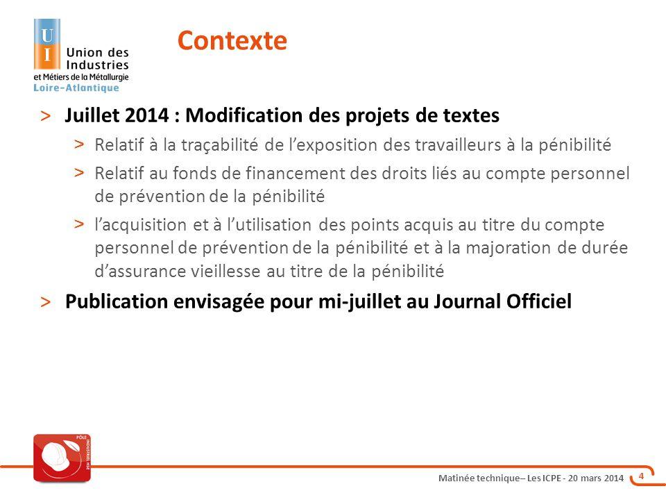 Matinée technique– Les ICPE - 20 mars 2014 4 >Juillet 2014 : Modification des projets de textes > Relatif à la traçabilité de l'exposition des travail