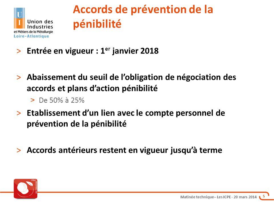 Matinée technique– Les ICPE - 20 mars 2014 5 >Entrée en vigueur : 1 er janvier 2018 >Abaissement du seuil de l'obligation de négociation des accords e