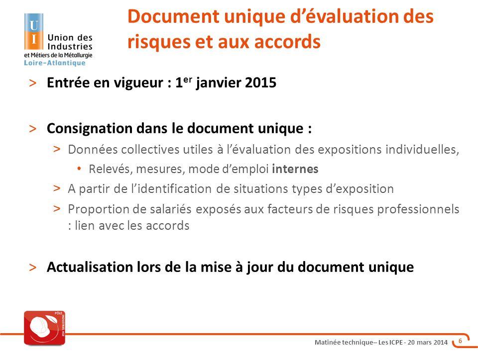 Matinée technique– Les ICPE - 20 mars 2014 6 >Entrée en vigueur : 1 er janvier 2015 >Consignation dans le document unique : > Données collectives util