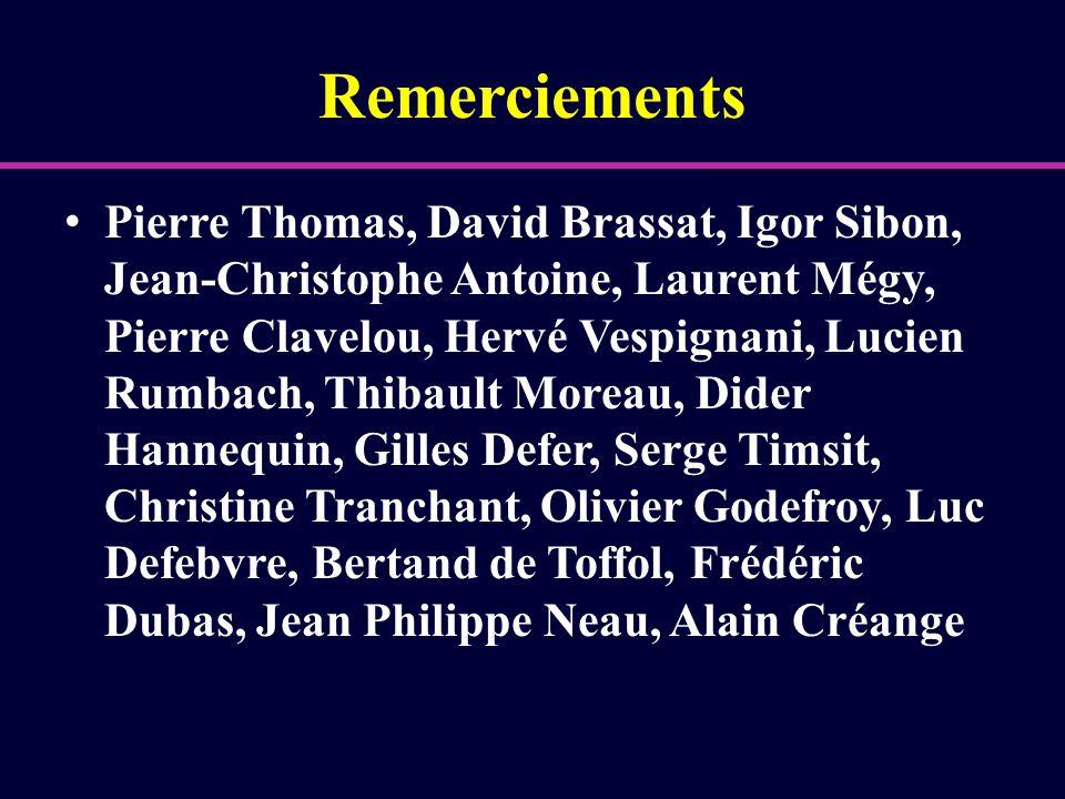 Remerciements Pierre Thomas, David Brassat, Igor Sibon, Jean-Christophe Antoine, Laurent Mégy, Pierre Clavelou, Hervé Vespignani, Lucien Rumbach, Thib