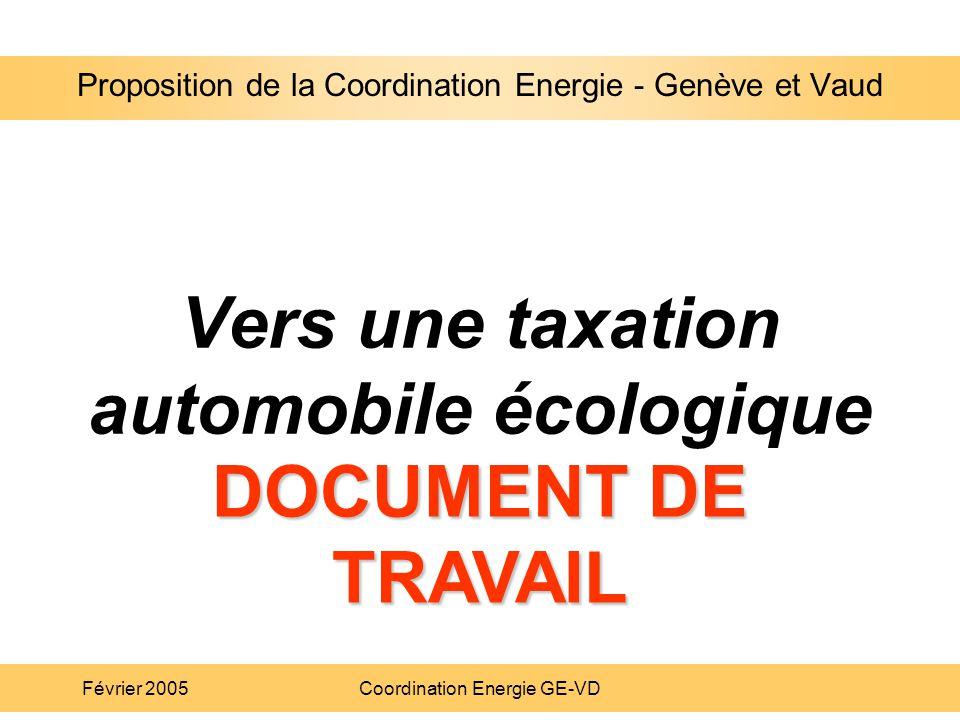 Proposition de la Coordination Energie - Genève et Vaud Février 2005Coordination Energie GE-VD Vers une taxation automobile écologique Proposition de