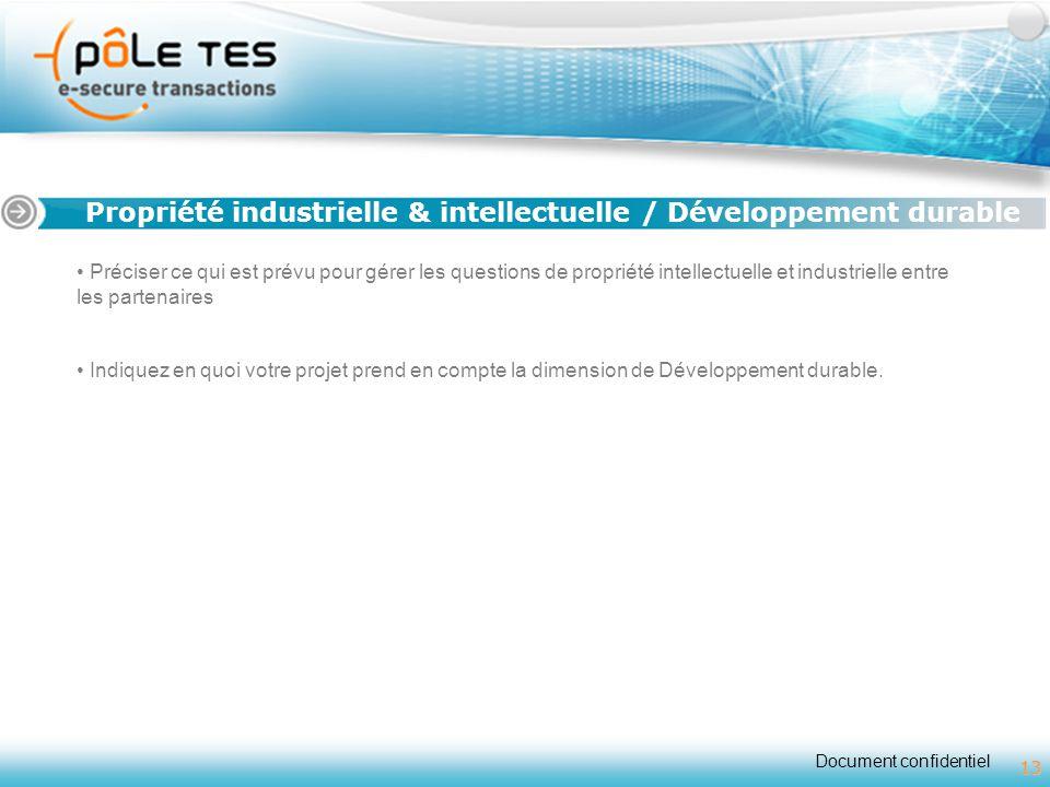Document confidentiel 13 Titre 1 Propriété industrielle & intellectuelle / Développement durable 13 Préciser ce qui est prévu pour gérer les questions