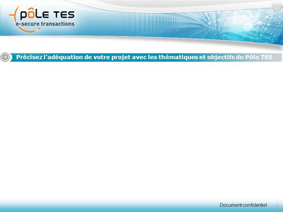 Document confidentiel 5 Titre 1 Précisez l'adéquation de votre projet avec les thématiques et objectifs du Pôle TES 5