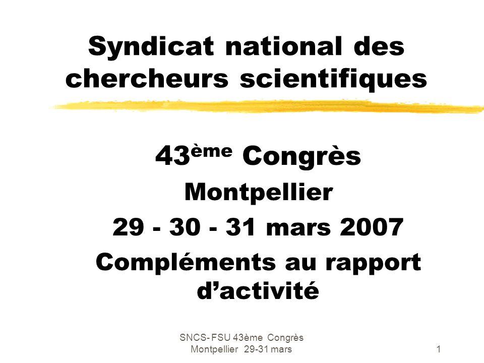 SNCS- FSU 43ème Congrès Montpellier 29-31 mars2 Depuis le dernier Congrès (Meudon janvier 2005) zLa période est marquée par la promulgation de la loi programme « Pacte pour la recherche » d'avril 2006 et la publication des décrets d'application (ANR, AERES) zL'année 2005 a été celle des négociations menées par le CIP (Comité d'initiative et de proposition) zLes syndicats ne sont intervenus qu'à la fin du processus