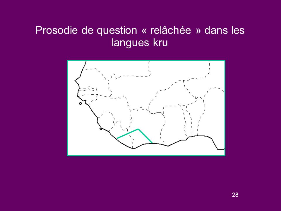 27 Schèmes de variation de la prosodie « relâchée » de question dans les langues kwa Ces marqueurs se rencontrent dans tous les groupes de la famille kwa et dans les plus grandes langues de la famille.
