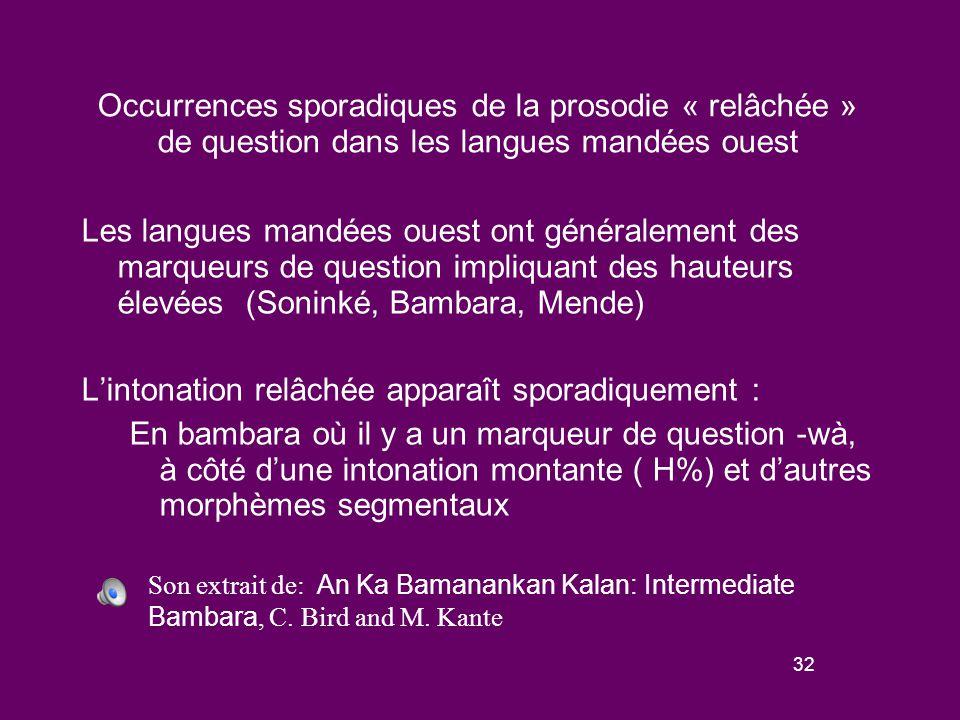 31 Prosodie de question « relâchée » dans les langues mandées Sud-Est Les langues mandées sud-est parlées en Côte d'Ivoire partagent des traits areals avec les langues kwa et kru: une tendance à la monosyllabicité et un grand nombre de tons.