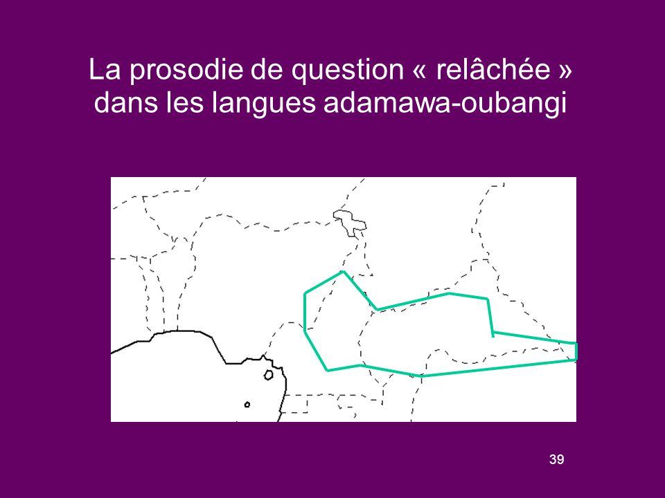 38 Schèmes de variation de la prosodie « relâchée » dans les langues de la sous-famille bantoïde (à l'exception des langues bantoues) En Mambila, le contour final descendant diffère de la réalisation d'un ton bas final (Connell 2004).