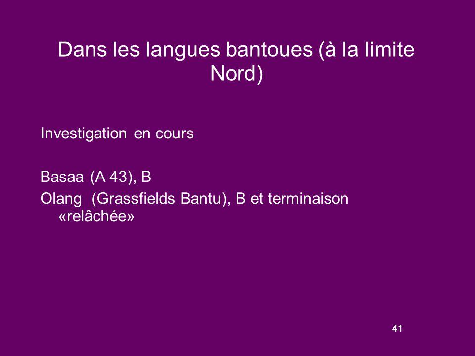 40 Schèmes de variation de la prosodie « relâchée » dans les langues adamawa-oubangi Les plus grandes langues de ces familles (Zande, Banda, Gbaya) ont une forme de prosodie « relâchée ».