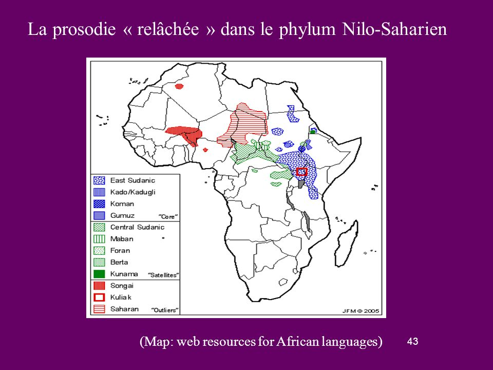 42 La prosodie de question « relâchée » dans le phylum Niger-Congo Nous l'avons trouvée dans toutes les familles niger-congo à l'exception des familles atlantique, bantoue (sauf frange Nord) et kordofanienne.