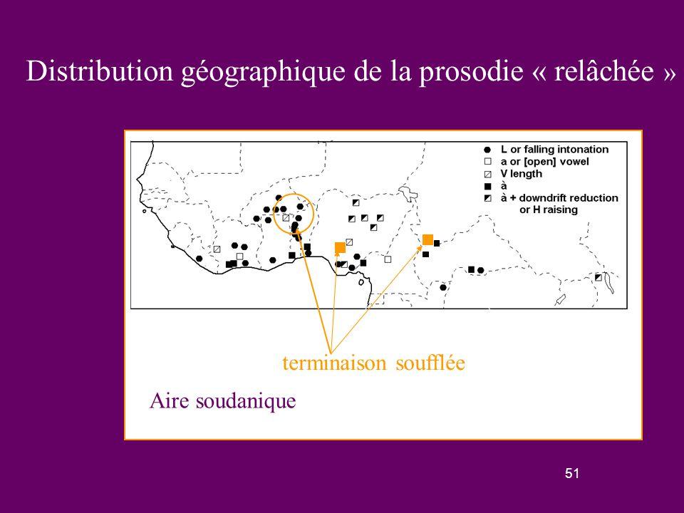 50 La prosodie « relâchée » dans le phylum afro-asiatique Nous l'avons seulement trouvée dans la famille tchadique, qui comporte quelques langues associant une forme de prosodie relâchée avec une réduction de downdrift : - àa (Angas, Sayanci) - à (Pero) sinon, les langues tchadiques ont des marqueurs de question avec des hauteurs élevées (Hausa, Tera).