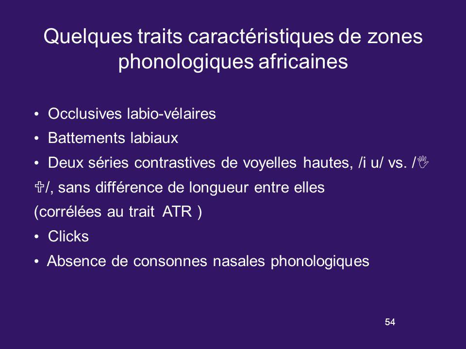 53 Les zones phonologiques ont été définies sur la base de propriétés phonologiques, communes dans ces zones mais rares ou du moins beaucoup moins fréquentes en dehors.