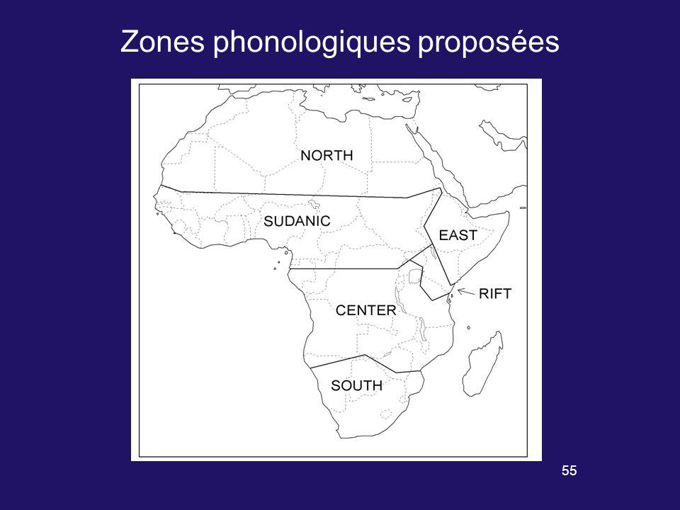 54 Quelques traits caractéristiques de zones phonologiques africaines Occlusives labio-vélaires Battements labiaux Deux séries contrastives de voyelles hautes, /i u/ vs.