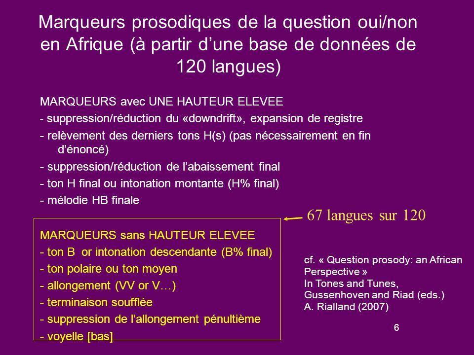 56 Les bases de données segmentales - La base de données comporte 150 systèmes phonologiques, avec une surreprésentation des langues de la ceinture soudanique (N = 100) du fait de leur très grand nombre et de leur diversité génétique.