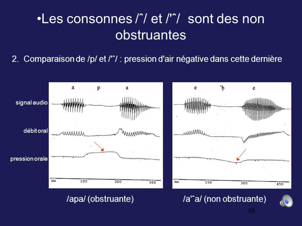 65 Les consonnes /ˆ/ et / ˆ/ sont des non obstruantes /aba/ (obstruante) /aˆa/ (non obstruante) 1.
