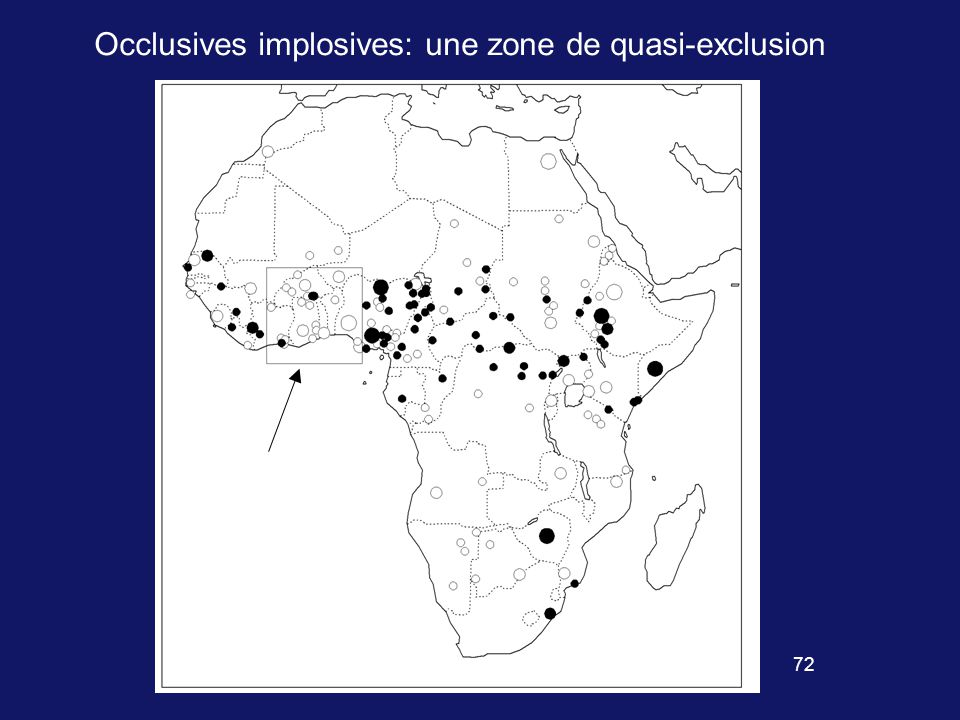 71 Distribution des occlusives implosives Texte incluant sans doute des occlusives non obstruantes