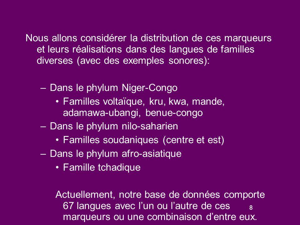 48 Prosodie des questions en Songhay, dans les langues ouest et est soudaniques Songhay : seulement des marqueurs avec hauteur élevée Langues ouest-soudaniques: -wá (Kanuri), une « forme hybride » Langues est-soudaniques -à dans quelques langues (Zaghawa, Turkana) sinon, les langues de cette famille ont des marqueurs impliquant une hauteur élevée de la voix (Anywa, Arusa, Dholuo, Nandi)