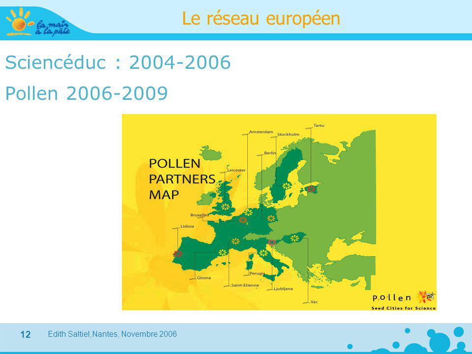 Edith Saltiel,Nantes, Novembre 2006 12 Le réseau européen Sciencéduc : 2004-2006 Pollen 2006-2009