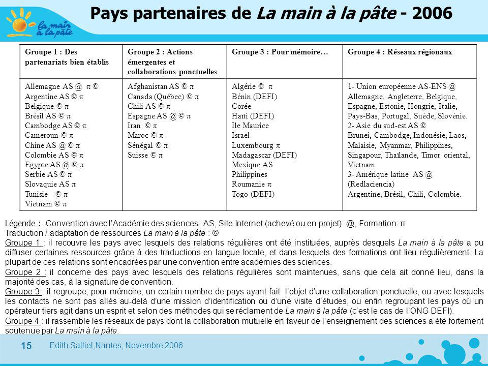 Edith Saltiel,Nantes, Novembre 2006 15 Pays partenaires de La main à la pâte - 2006 Groupe 1 : Des partenariats bien établis Groupe 2 : Actions émerge