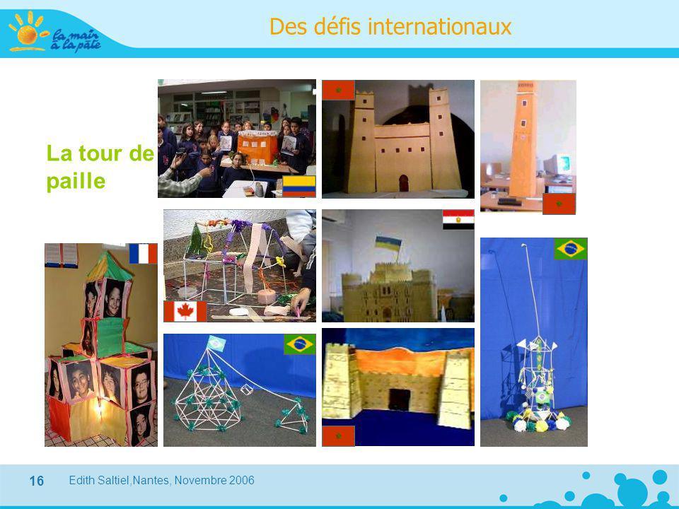 Edith Saltiel,Nantes, Novembre 2006 16 La tour de paille Des défis internationaux