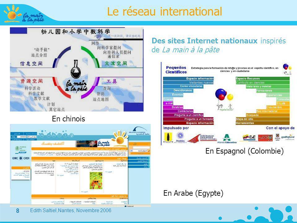 Edith Saltiel,Nantes, Novembre 2006 8 Le réseau international Des sites Internet nationaux inspirés de La main à la pâte En chinois En Espagnol (Colom
