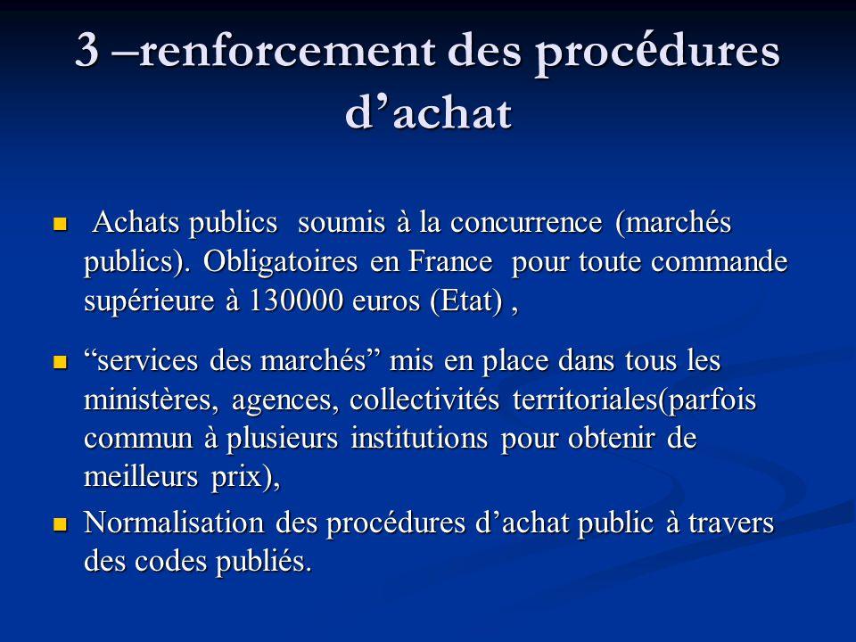 3 – renforcement des proc é dures d ' achat Achats publics soumis à la concurrence (marchés publics). Obligatoires en France pour toute commande supér