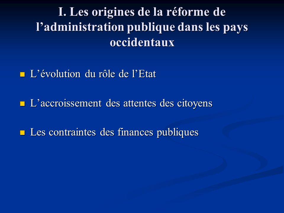 I. Les origines de la réforme de l'administration publique dans les pays occidentaux L'évolution du rôle de l'Etat L'évolution du rôle de l'Etat L'acc
