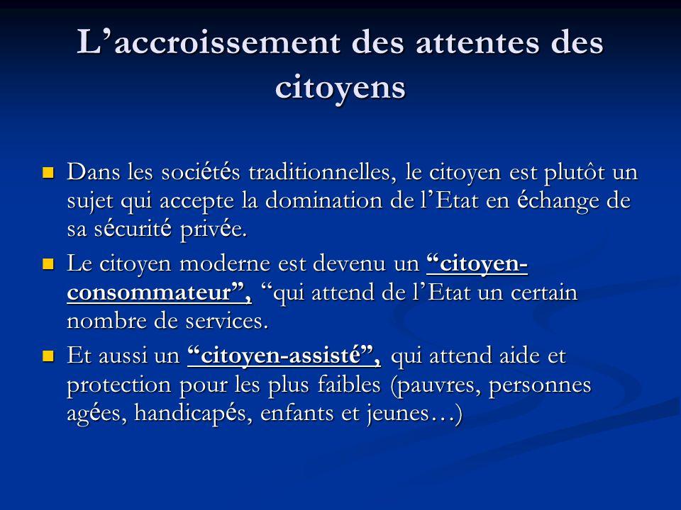 L ' accroissement des attentes des citoyens Dans les soci é t é s traditionnelles, le citoyen est plutôt un sujet qui accepte la domination de l ' Eta