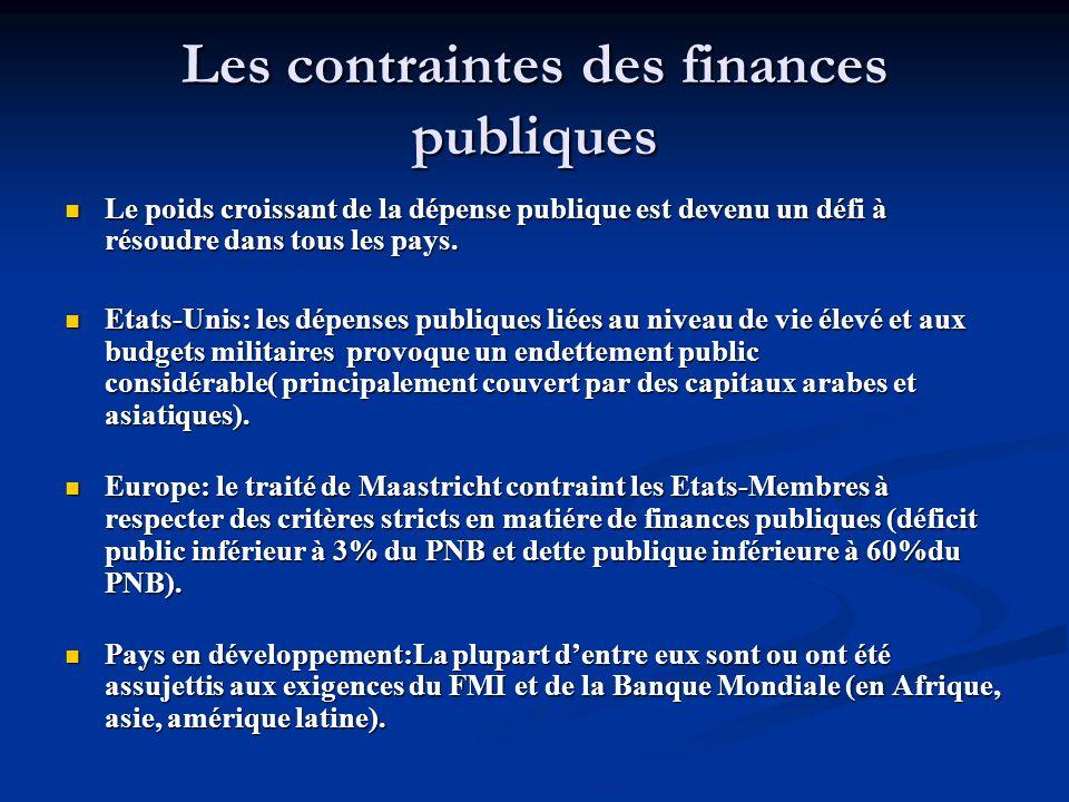 Les contraintes des finances publiques Le poids croissant de la dépense publique est devenu un défi à résoudre dans tous les pays. Le poids croissant