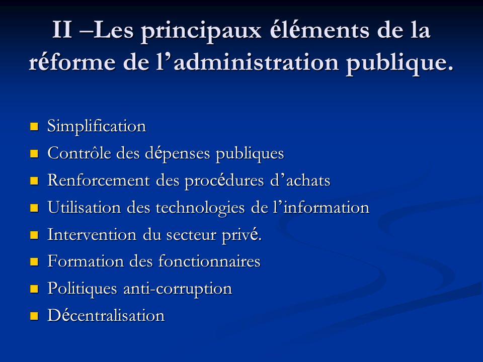 II – Les principaux é l é ments de la r é forme de l ' administration publique. Simplification Simplification Contrôle des d é penses publiques Contrô
