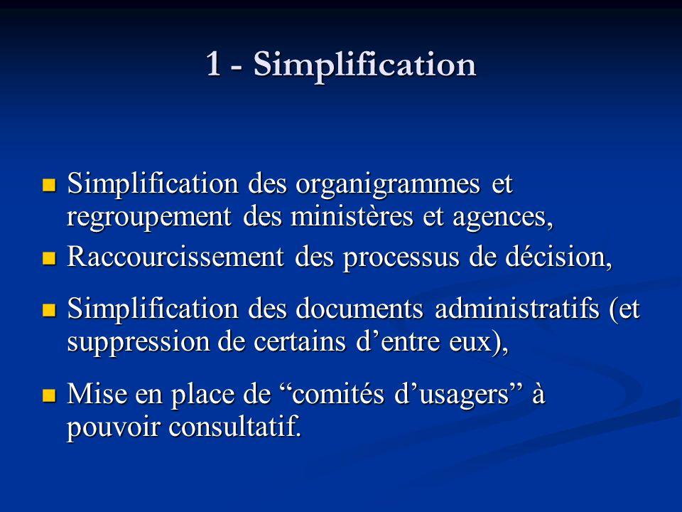 1 - Simplification Simplification des organigrammes et regroupement des ministères et agences, Simplification des organigrammes et regroupement des mi