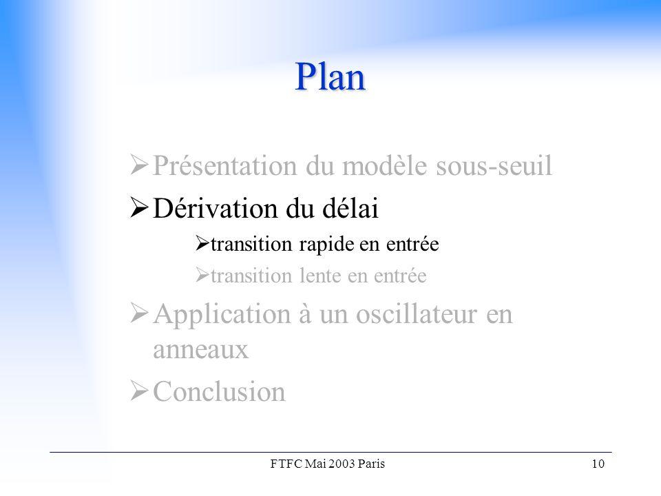 FTFC Mai 2003 Paris10 Plan  Présentation du modèle sous-seuil  Dérivation du délai  transition rapide en entrée  transition lente en entrée  Application à un oscillateur en anneaux  Conclusion