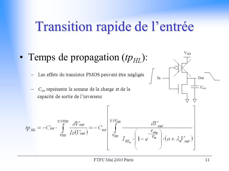 FTFC Mai 2003 Paris11 Transition rapide de l'entrée Temps de propagation (tp HL ): –Les effets du transistor PMOS peuvent être négligés –C tot représente la somme de la charge et de la capacité de sortie de l'inverseur V DD OutIn C tot