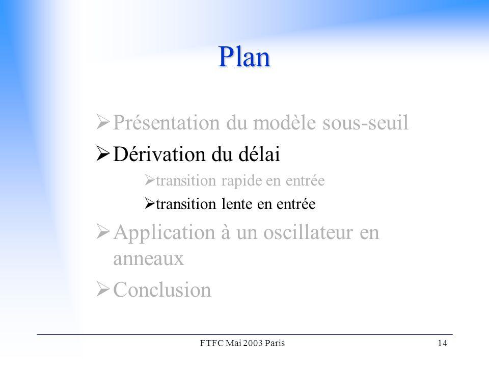 FTFC Mai 2003 Paris14 Plan  Présentation du modèle sous-seuil  Dérivation du délai  transition rapide en entrée  transition lente en entrée  Application à un oscillateur en anneaux  Conclusion