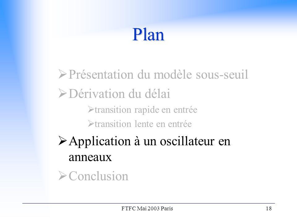 FTFC Mai 2003 Paris18 Plan  Présentation du modèle sous-seuil  Dérivation du délai  transition rapide en entrée  transition lente en entrée  Application à un oscillateur en anneaux  Conclusion