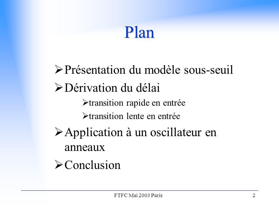 FTFC Mai 2003 Paris2 Plan  Présentation du modèle sous-seuil  Dérivation du délai  transition rapide en entrée  transition lente en entrée  Application à un oscillateur en anneaux  Conclusion