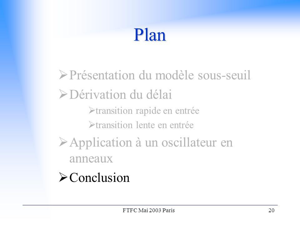 FTFC Mai 2003 Paris20 Plan  Présentation du modèle sous-seuil  Dérivation du délai  transition rapide en entrée  transition lente en entrée  Application à un oscillateur en anneaux  Conclusion