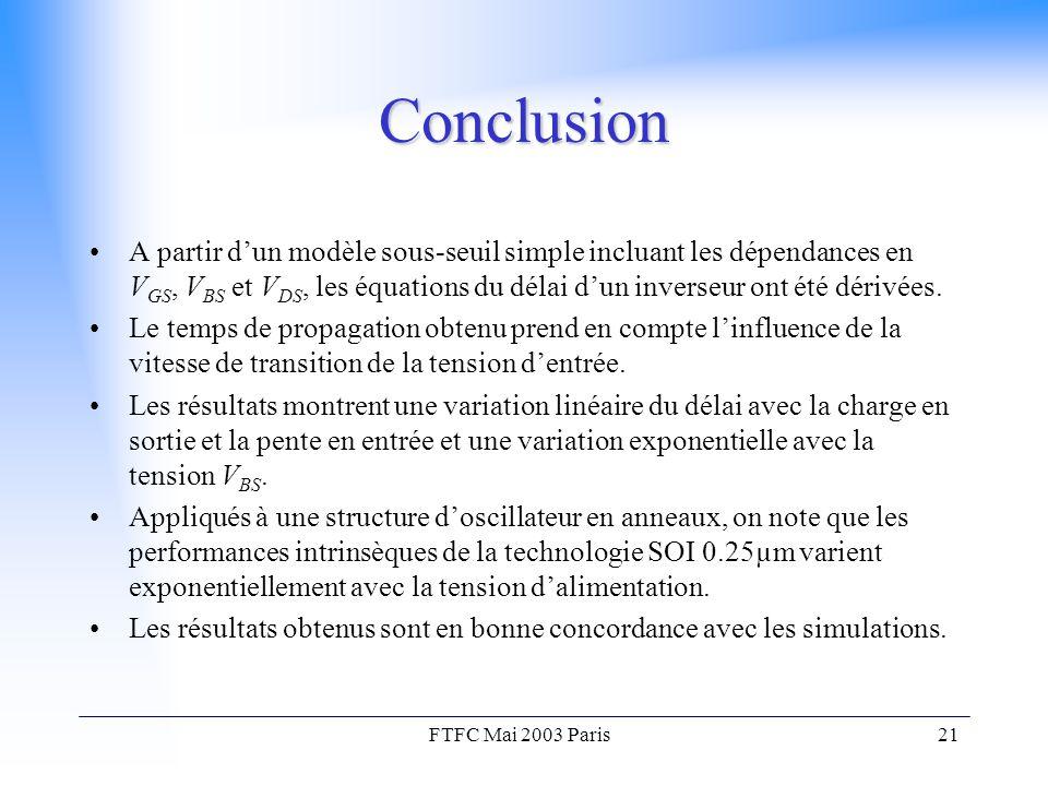 FTFC Mai 2003 Paris21 Conclusion A partir d'un modèle sous-seuil simple incluant les dépendances en V GS, V BS et V DS, les équations du délai d'un inverseur ont été dérivées.