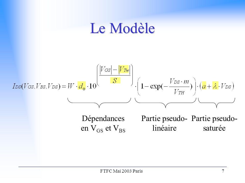 FTFC Mai 2003 Paris7 Le Modèle Dépendances en V GS et V BS Partie pseudo- linéaire Partie pseudo- saturée