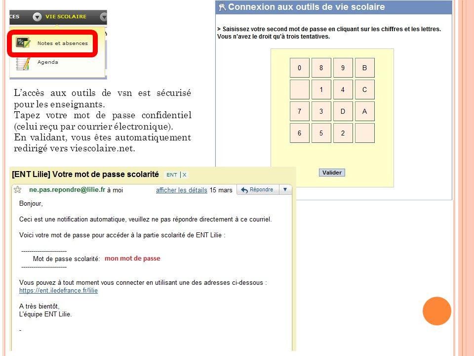 L'accès aux outils de vsn est sécurisé pour les enseignants. Tapez votre mot de passe confidentiel (celui reçu par courrier électronique). En validant