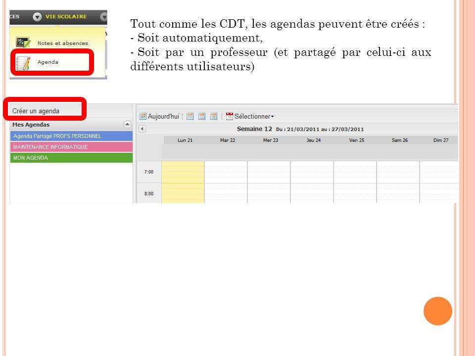 Tout comme les CDT, les agendas peuvent être créés : - Soit automatiquement, - Soit par un professeur (et partagé par celui-ci aux différents utilisateurs)